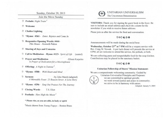 Order of Service October 20, 2013