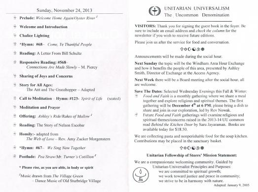 Order of Service November 24, 2013